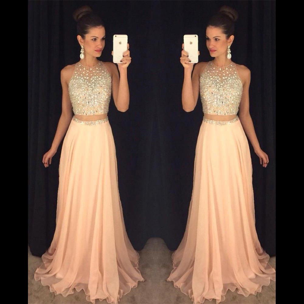 660dbce8494 Jewel Neck Illusion Two Piece Prom Dress