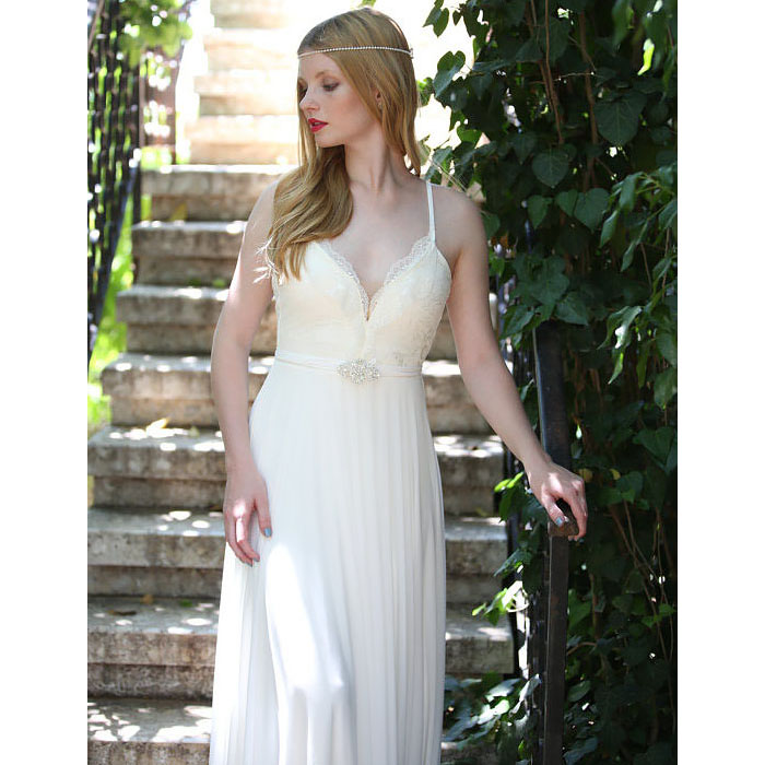 27a92c314a6 White Spaghetti Straps Column Wedding Dress