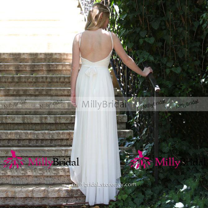27a92c314a6 White Spaghetti Straps Column Wedding Dress