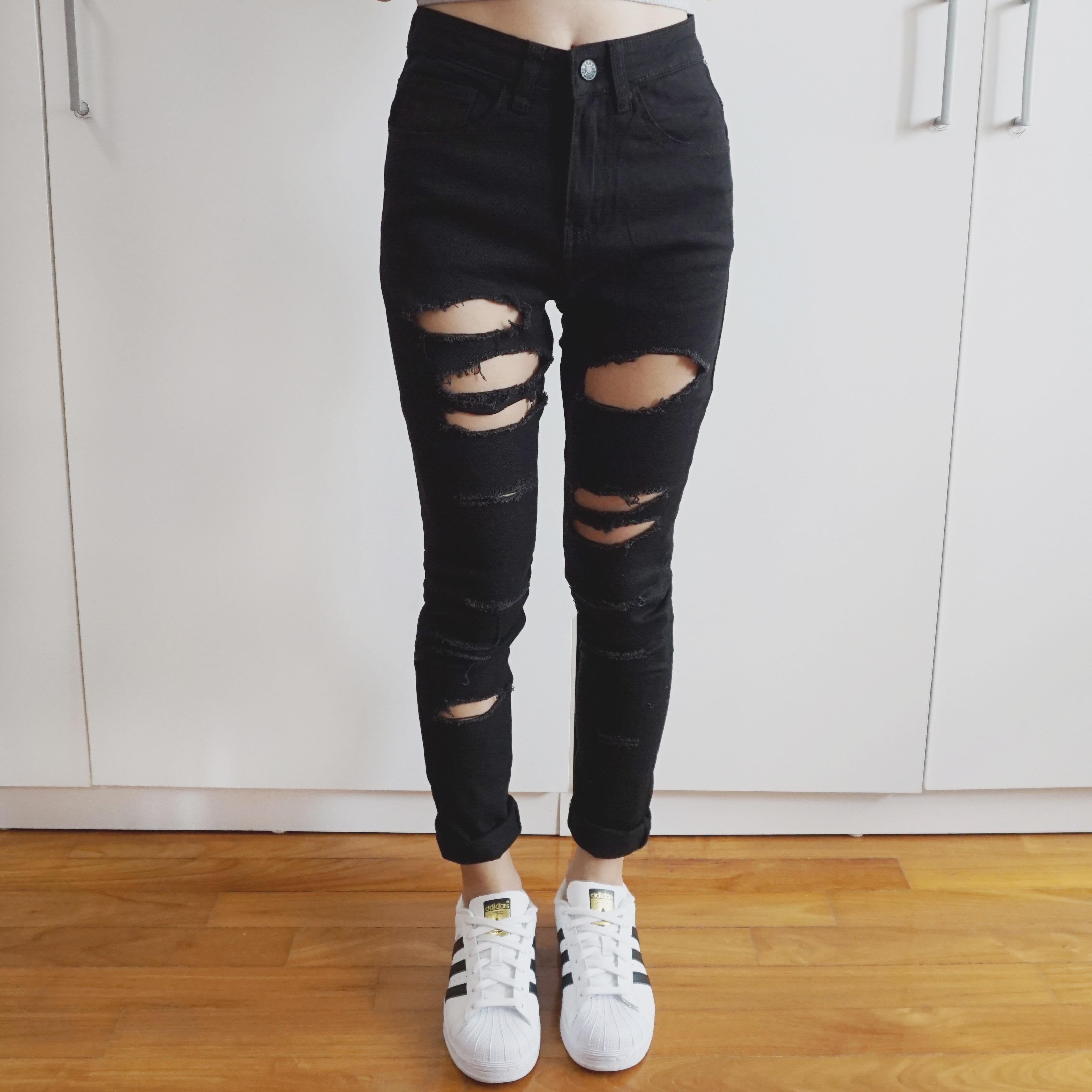 26c5c9302d77 Destroyed Ripped High Waist Skinny Jeans (Black) · Megoosta Fashion ...