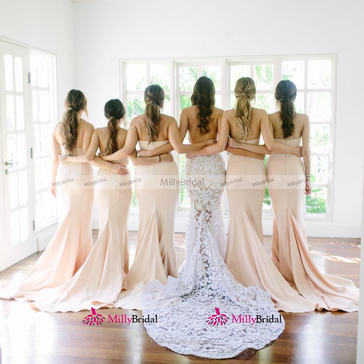 f4f6f1348dd Trendy Sweetheart Trumpet Long Bridesmaid Dress
