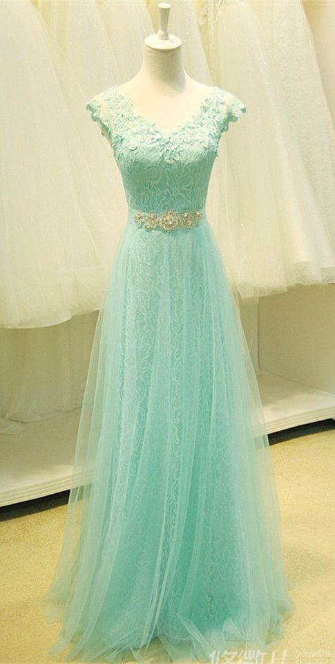 J184 Mint Green Long Tulle Prom Gowns, Best Seller Cheap Tulle ...