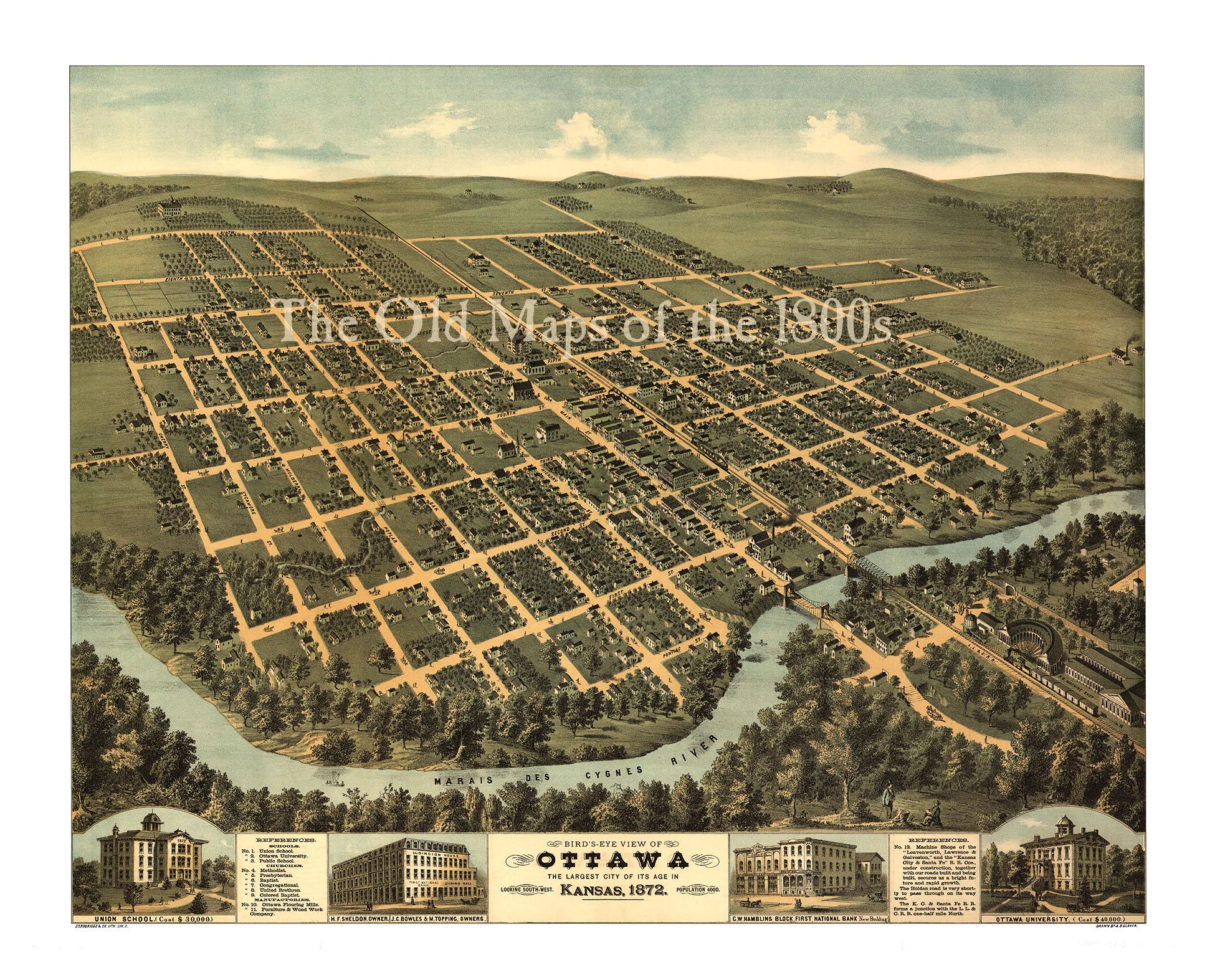Ottawa Kansas In Birds Eye View Map Aerial Map Panorama - Antique looking maps