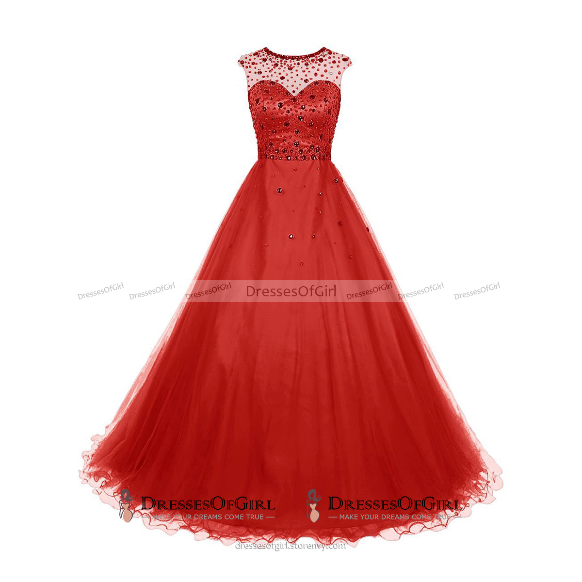 e2f8c5ebeefe ... Crystal Jewel Neck Illusion Cap Sleeves Prom Dress, Beaded A-line Long  Prom Dress ...