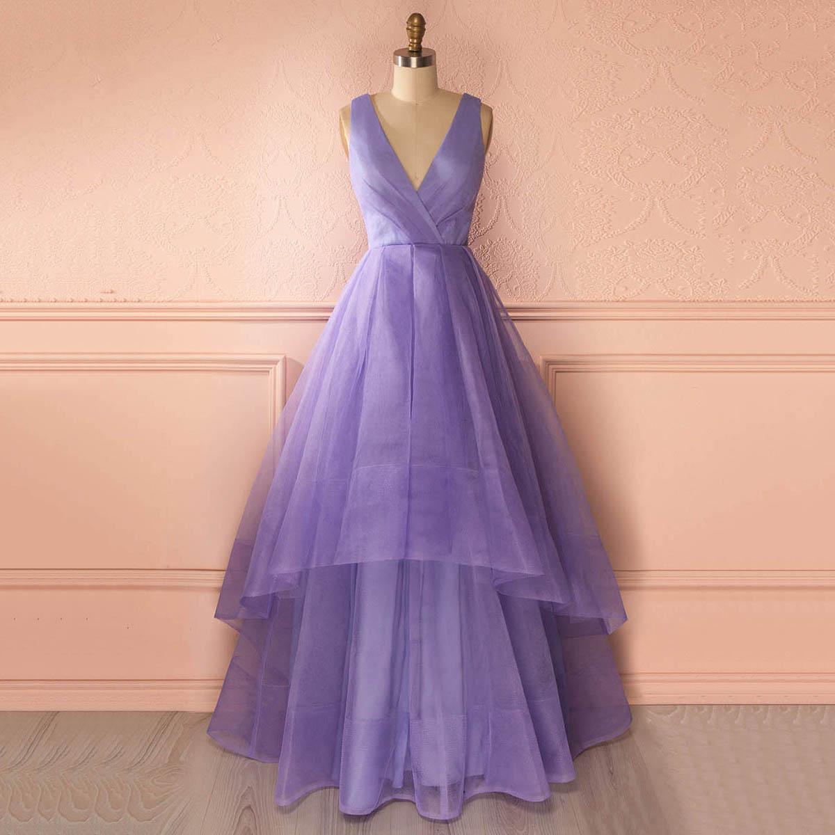 7cecf59703f Unique Deep V Neck Floor Length Prom Dress