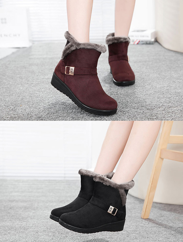 1eb9905f34bce ... Brown Women Winter Snow Boots Round Toe Flat Boots Cotton Ankle Boots - Thumbnail  4