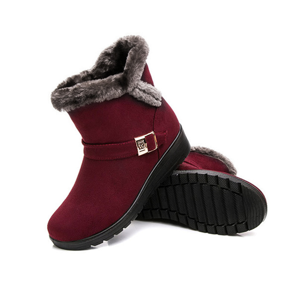 2054ee32e6460 Red Women Winter Snow Boots Round Toe Flat Boots Cotton Ankle Boots -  Thumbnail 1 ...