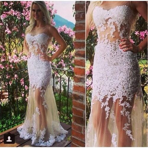e66b1c3064 A311 Lace Appliques Mermaid Evening Dresses