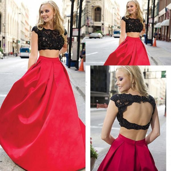 Black Lace Red 2 Pieces Prom Dresses,Cap Sleeves Backless Prom Dress ...