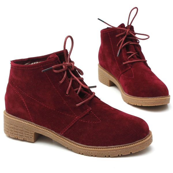 908051cd776 Red Women Fall Winter Ankle Boot Suede Lace Up Flat Heel Round Toe Shoes on  Storenvy