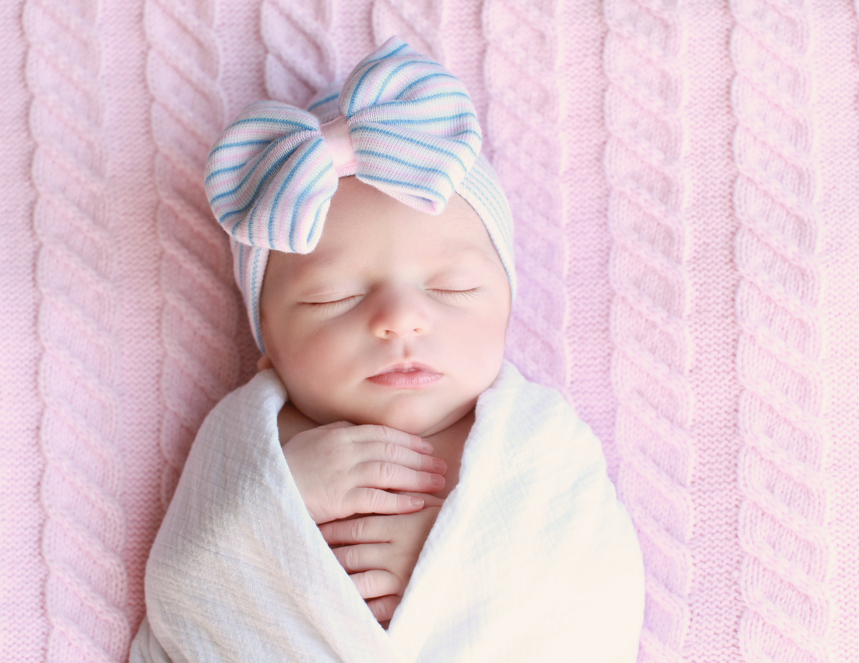 Blue Pink Newborn Hospital Bow Hat with Bling · Infanteenie Beenie ... a1567b3591d
