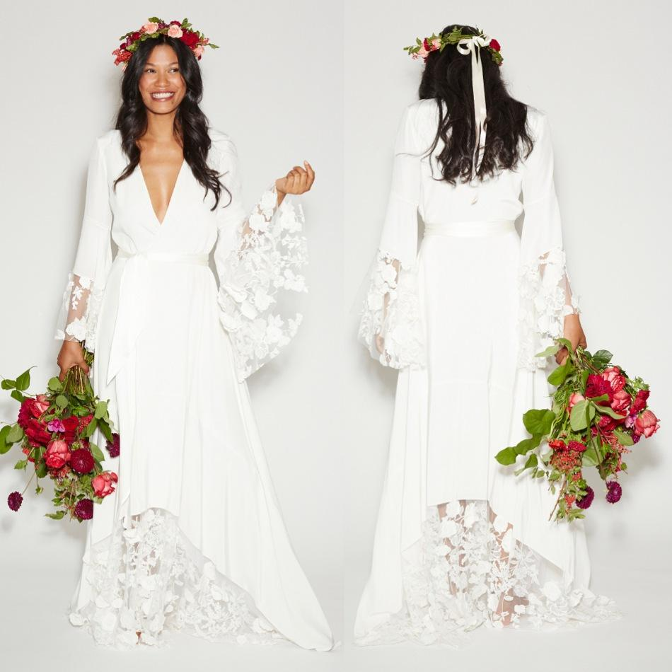Summer Beach BOHO Wedding Dresses Bohemian Beach Hippie Style Bridal ...