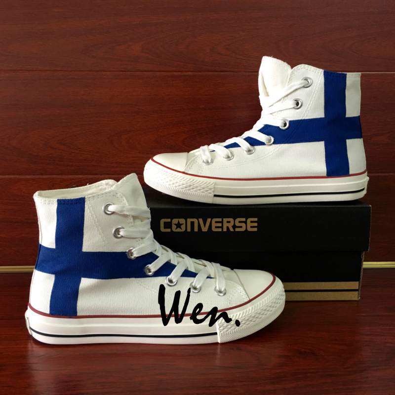 04d0afccfc65 Finland Flag Converse All Star Wen Hand Painted Shoes HIgh Top ...