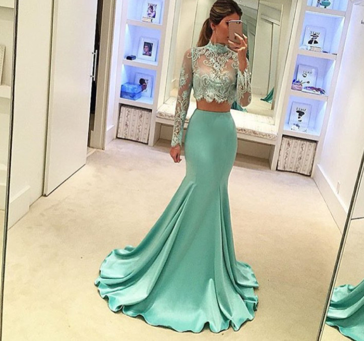 Stylish Mermaid Lace 2 Pieces Prom Dresses Long Sleeve Lace Evening