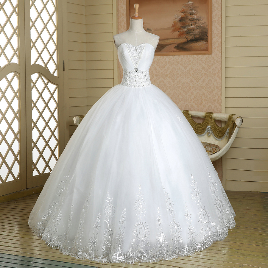 bc289bd4d458 Sweetheart Floral Crystal Beaded Wedding Dress, Attractive Pure White Ball Gown  Wedding Dress, Chic