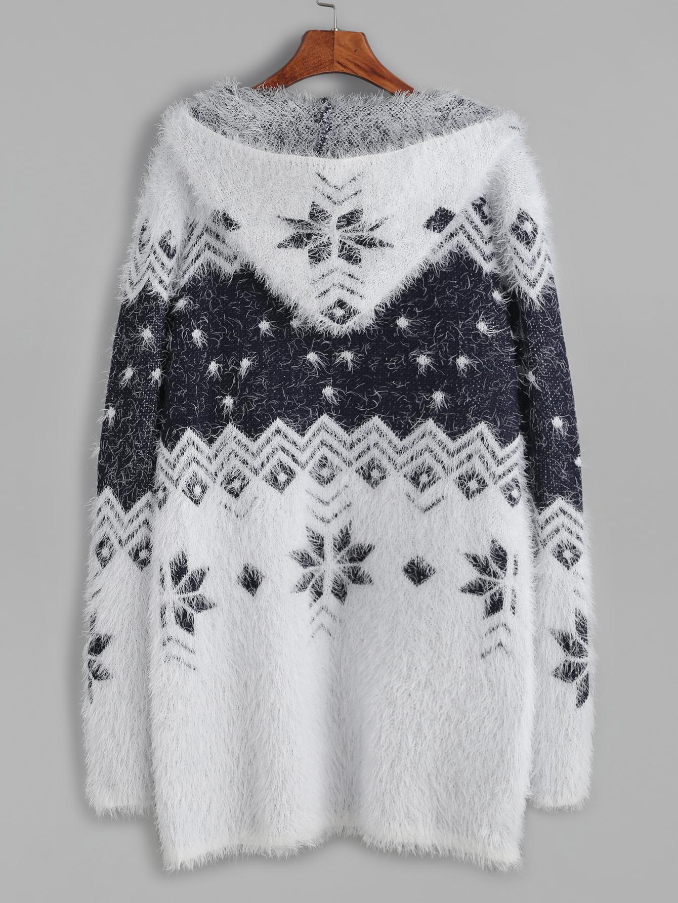 50dbdee9a9e8 ... Color Block Snowflake Pattern Fuzzy Hooded Sweater Coat Cardigan -  Thumbnail 3