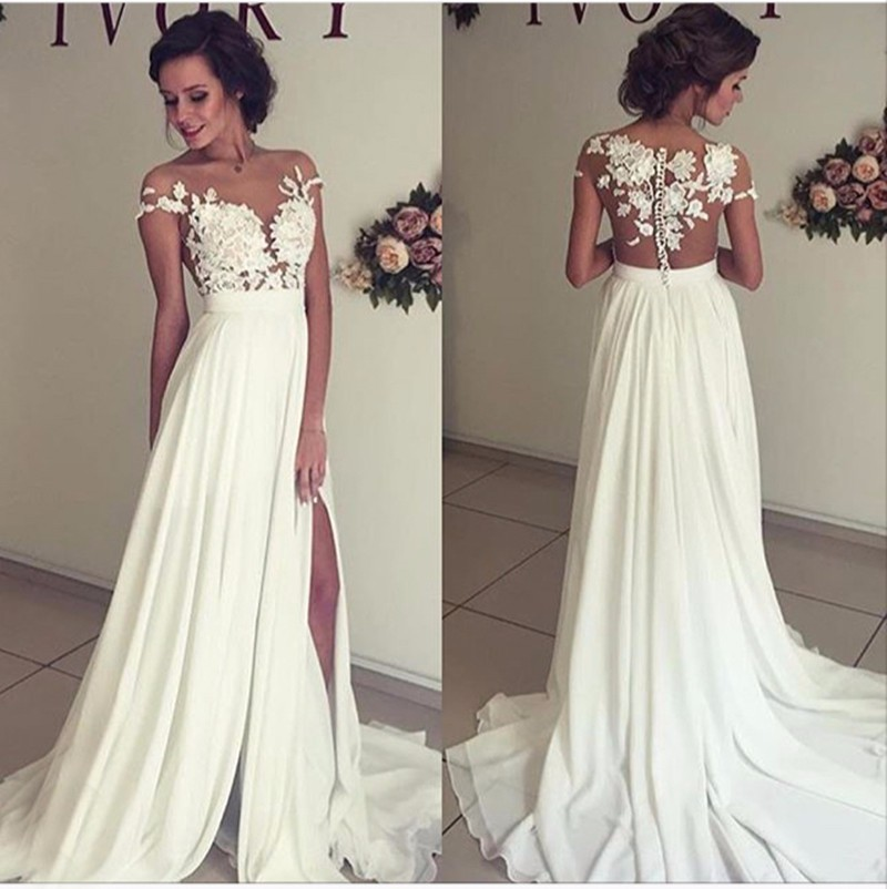 Sexy See Through Prom Dress Lace Wedding Dress Beach Wedding Gown