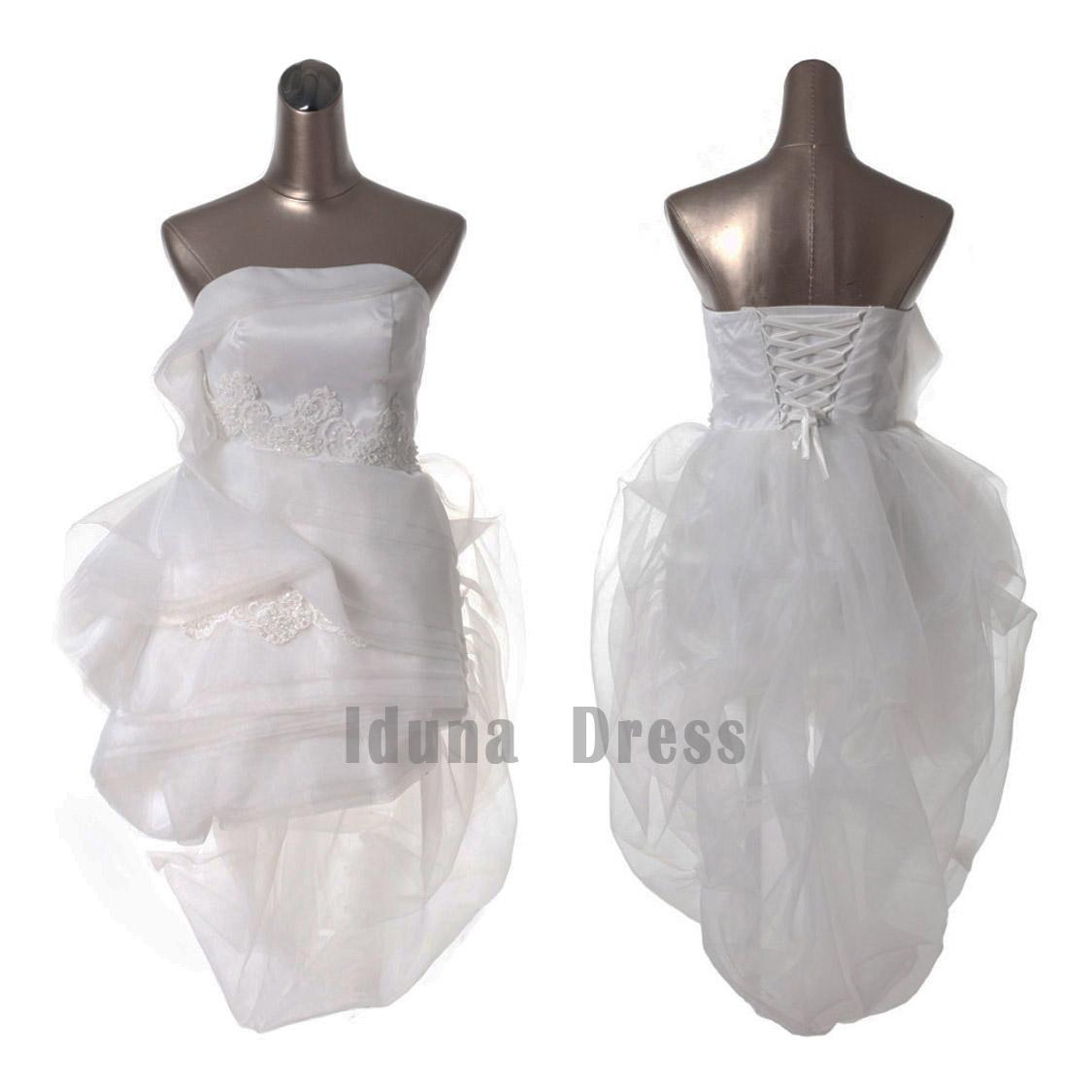 Strapless Lace Applique Wedding Dress Corset Back Short Bridal Gown ...