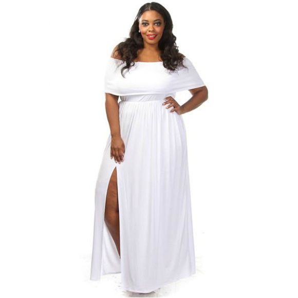 Plus Size Off The Shoulder Side Slit Maxi Dress White sold by Head2Toez  Apparel