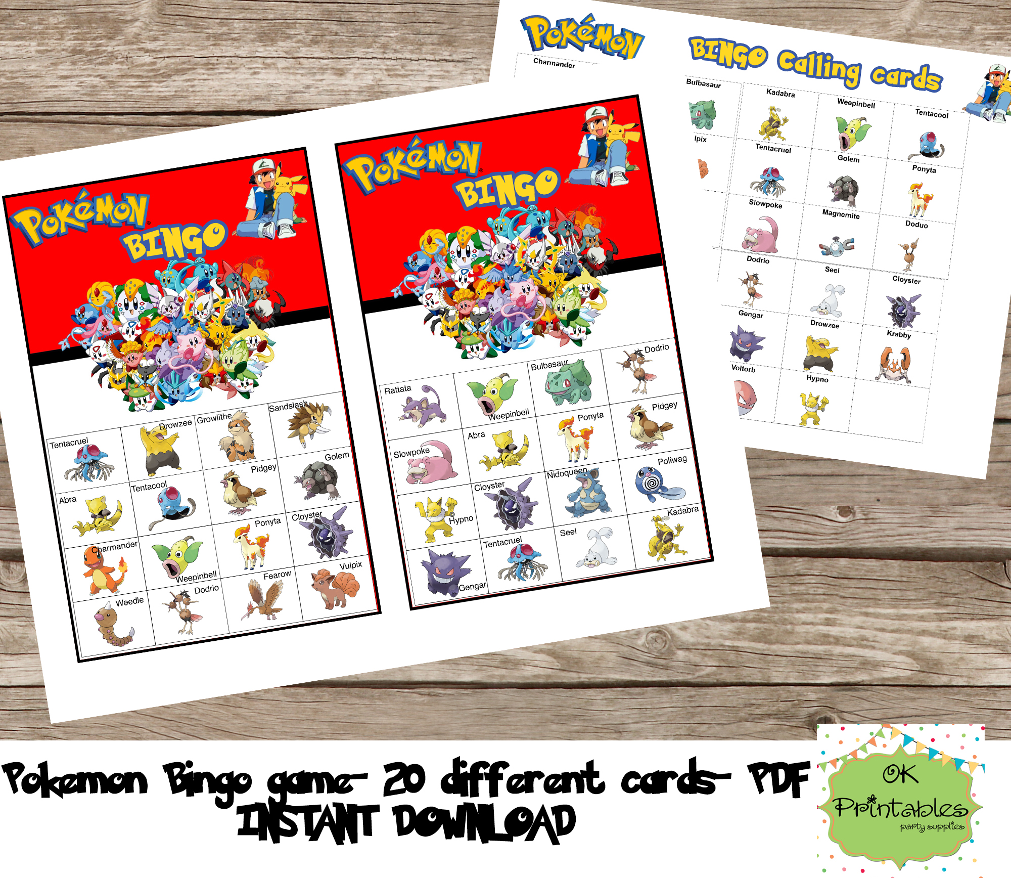 photo about Pokemon Printable Cards identified as Pokemon Bingo match (consist of 20 substitute playing cards)- Pokemon printable bingo -Pokemon birthday celebration - Pokemon sport get together marketed through okprintables