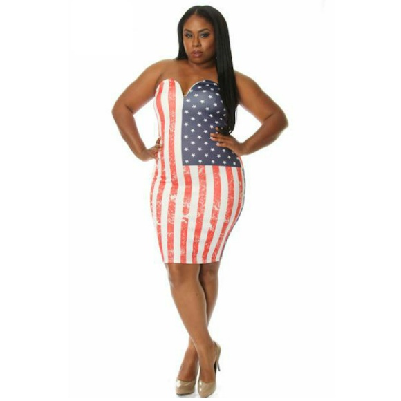 Plus Size American Flag Print Sweetheart Bodycon Dress from Head2Toez  Apparel