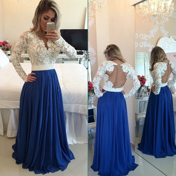 Royal Blue V Neck Button Back Floor Length Long Lace Prom Dress With Sleeves  on Storenvy 9d16527c599c