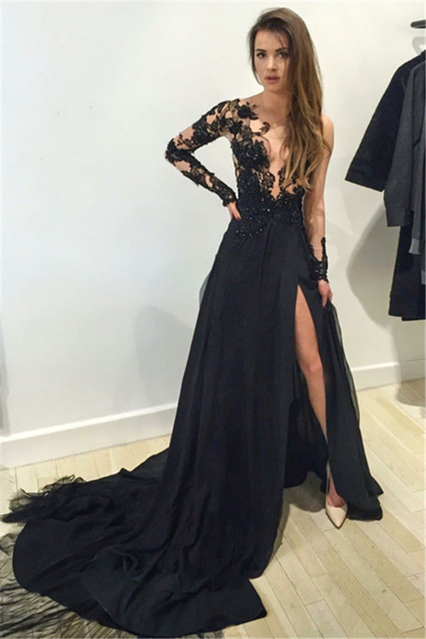 8e19d1d7c69 Sexy Black Long Sleeve Lace Applique A Line Chiffon Prom Dress With Slit on  Storenvy