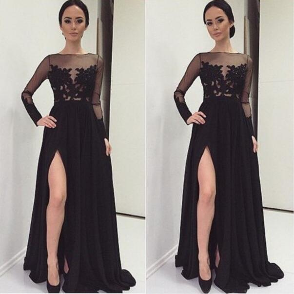 Black Slit Prom Dress Long Sleeve Prom Dresses Sexy See Through