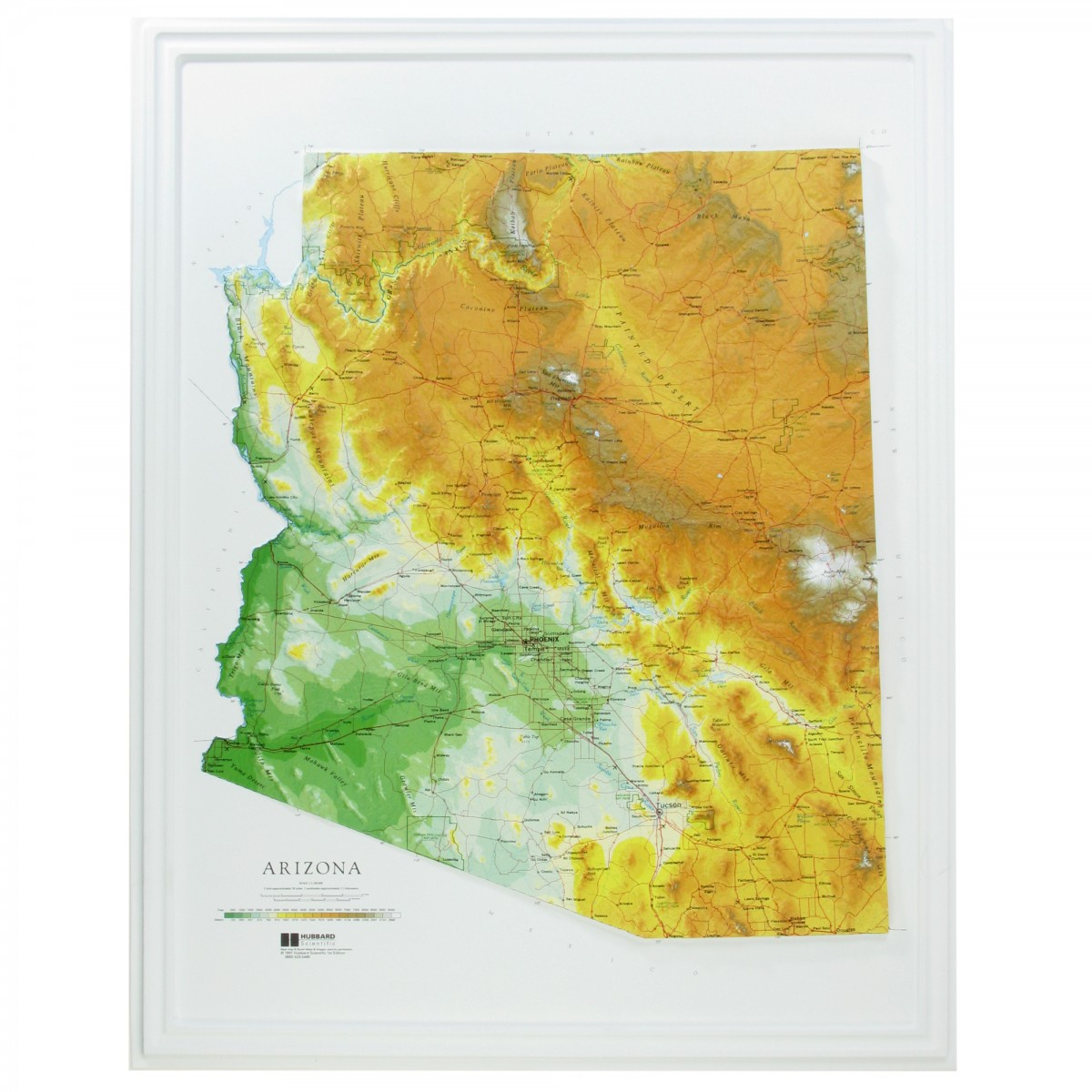 3d Map Of Arizona.Raised Relief 3d Map Of Arizona