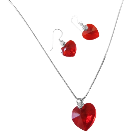 7c421726d4584 NSC518 Swarovski Lite Siam Red Crystals Heart & Earring Genuine Crystal  Heart