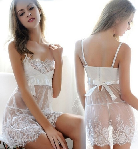 Oversized Sexy Women Lingerie White Bride Suit See Through