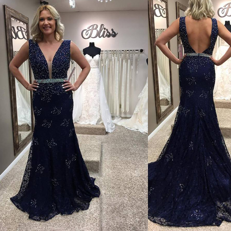 Navy Blue Lace Prom Dressesv Neck Mermaid Prom Dressoff The Shoulder Backless Prom Gowns Long Dark Blue Evening Dress Mother Of The Bridal Dresses