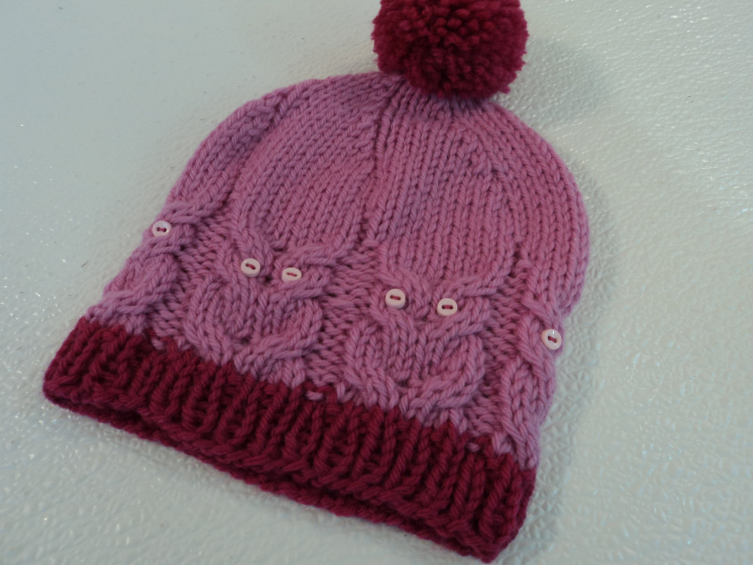 10bd0a58626 Handcrafted Knitted Baby Hat Pink Cranberry Pom Pom 100% Wool Female ...