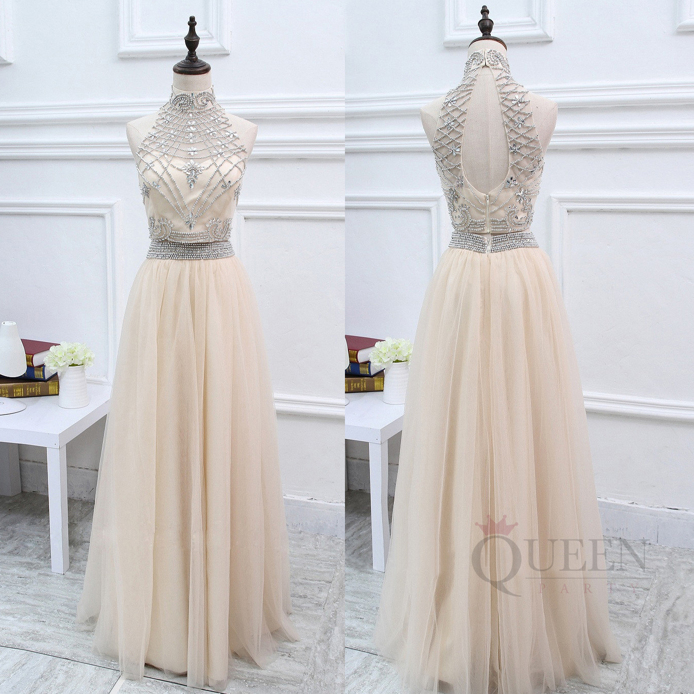 Gorgeous Champagne 2-Piece Tulle Long Prom Dress, Two-Piece Beaded ...
