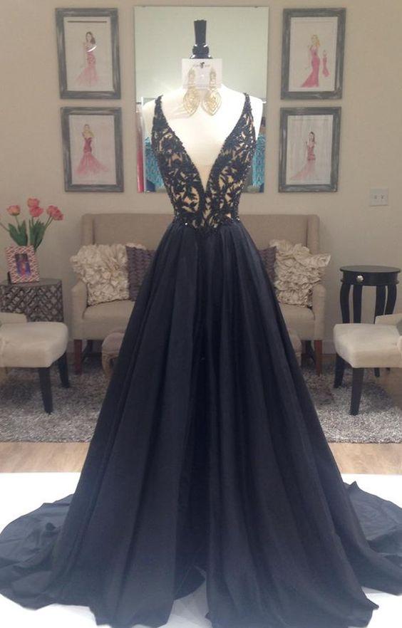 ac320881aad Black v-neck long prom dress