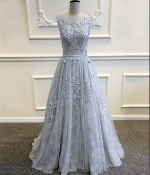 Sexy Backless Lace Evening Prom Dresses, Long Grey Tulle