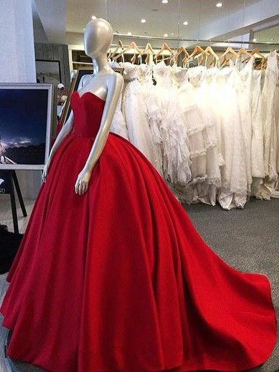 Long prom dress,Red ball gown,red prom dress,simple charming prom ...