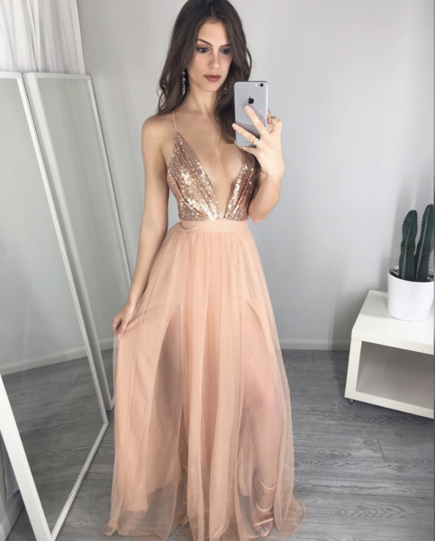 Ulass Unique V Neck Sequin Long Prom Dress Cheap Evening