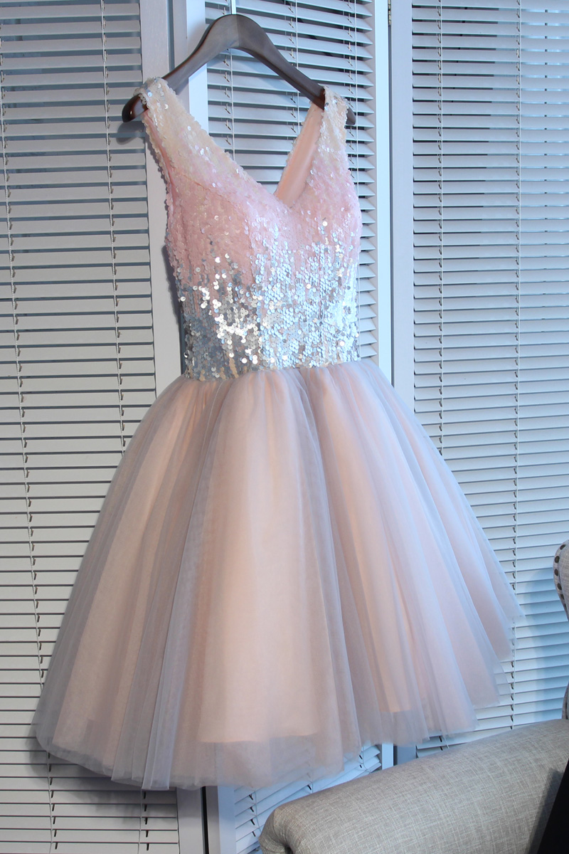 5124a469553 ... A-line v neck sequins short prom dress,formal dresses - Thumbnail 4