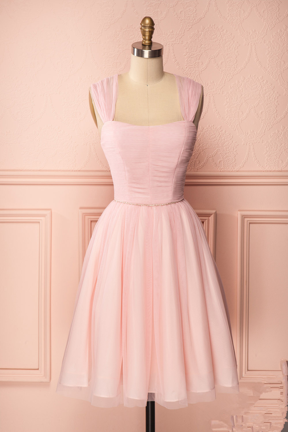 2a12348bb16 Cute pink tulle short prom dress