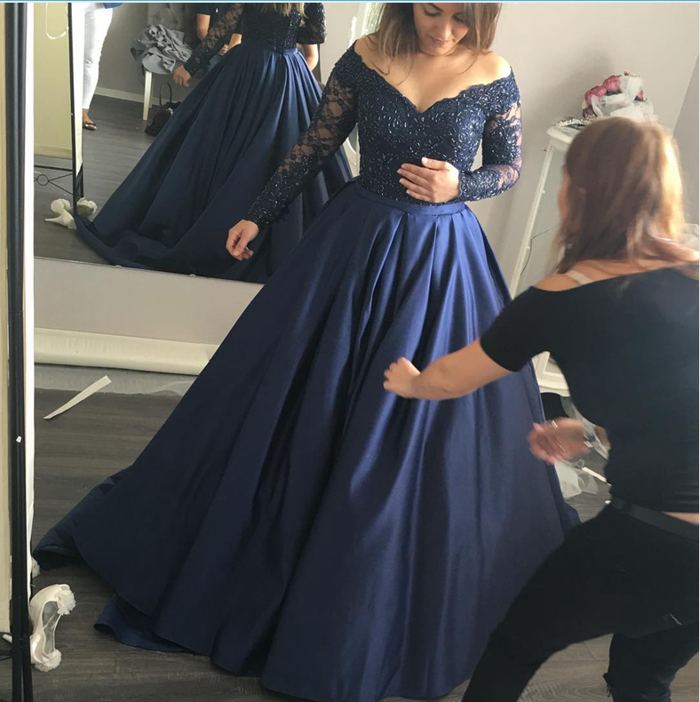 67a4c96b738 Long Sleeves Navy Blue Lace Ball Gown Prom Dresses