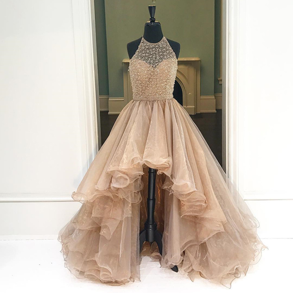 bb5141eba2 New Arrival Champagne Tiered Skirt Ball Gown Prom Dresses,Halter Front Short  Long Back Quinceanera
