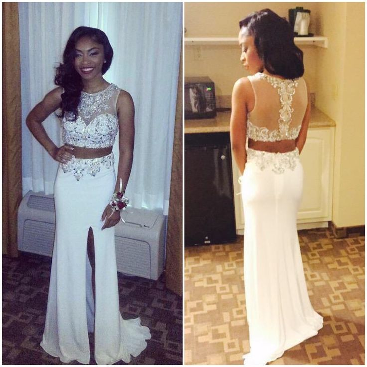 2016 Two Piece Prom Dresses For Women Long Sexy Rhinestones Prom