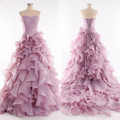 b15e57db56 Hand made ball gown sweetheart pink chiffon quinceanera dress prom dress
