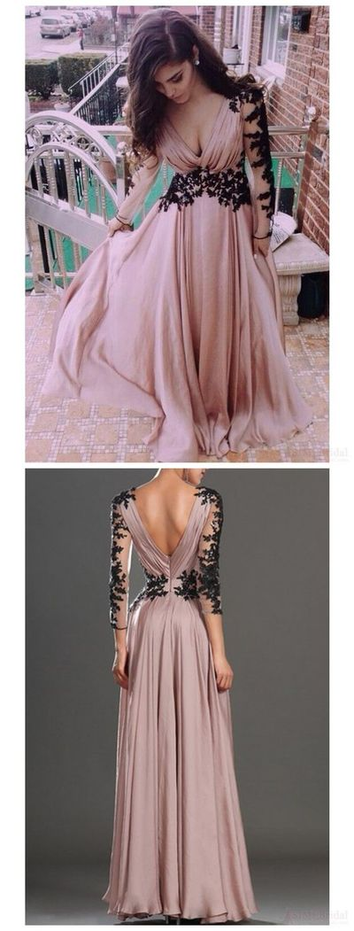 P185 Blush Pink Prom Dresses,Vintage Prom Gown,Women Boho Long Sleeves Plus  Size Evening Gowns,V neckline Party Dress,Black Lace Evening Dress from ...