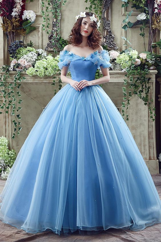 Quinceanera Dresses Graceful Ocean Blue Tulle Ball Gown Quinceanera ...