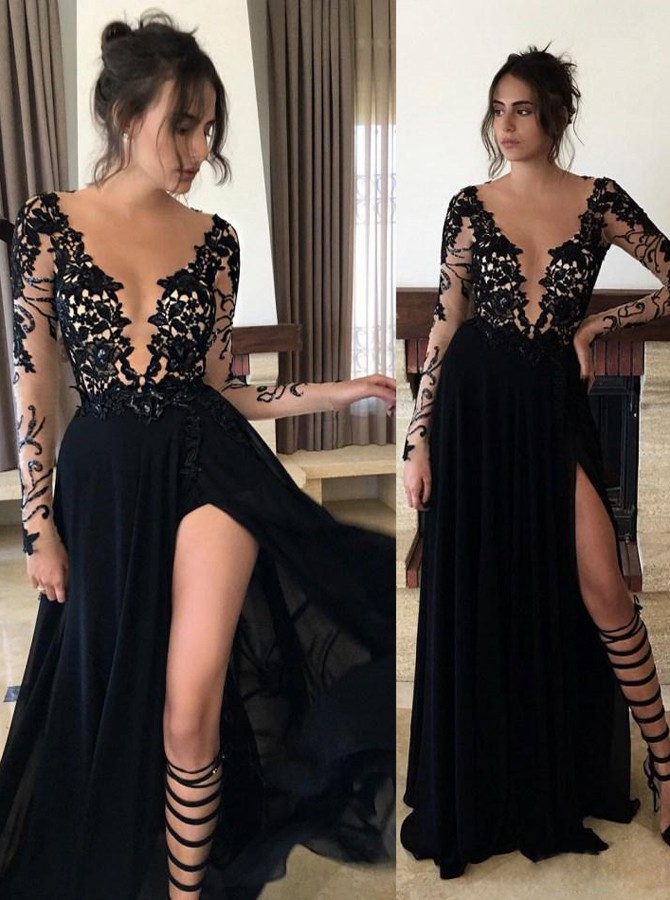 Sexy Jewel Split Front Floor Length Black Prom Dress With Illusion