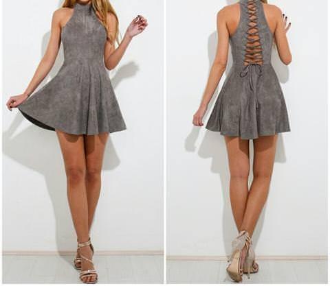 Grey Faux Suede Lace Up Short Dress