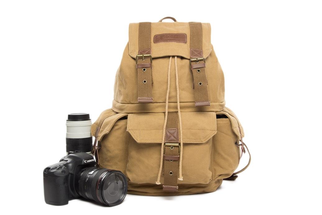Waxed Canvas Camera Backpack  Professional DSLR Camera Bag  Travel Backpack  FB-1235