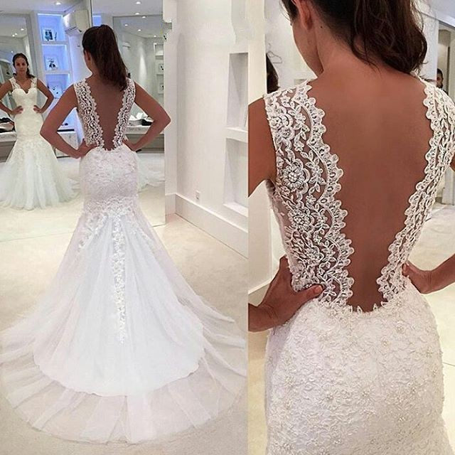 94fb7d0f75 Mermaid Sexy Deep V-Back Lace Wedding Dress · Sancta Sophia · Online ...
